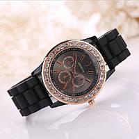 Женские часы силиконовые Geneva Relogio Feminino Black черные со стразами