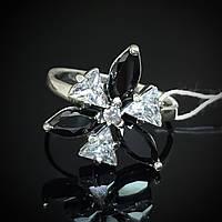 Серебряное кольцо с прозрачными и темными фианитами, 7 камней