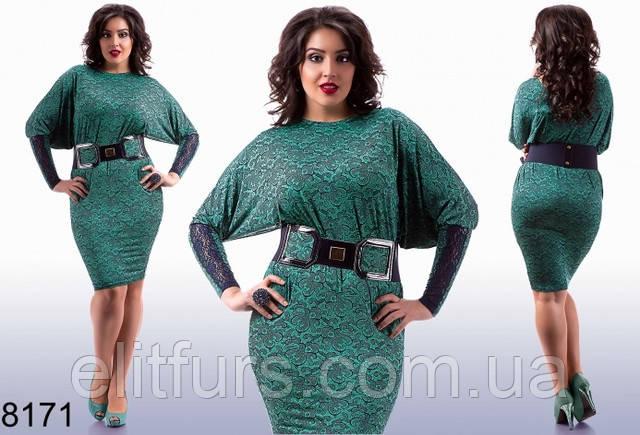 Стильное кружевное платье большого размера