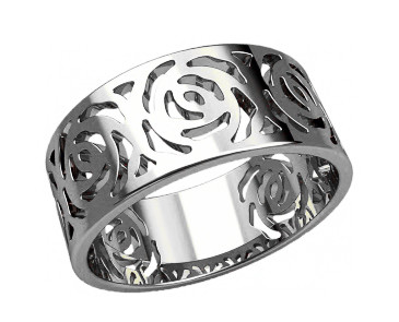 Кольцо  женское серебряное Розы 20903
