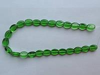 Бусина Овал плоский цвет зеленый 10*13 мм