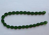 Бусина Овал плоский цвет зеленый темный 10*13 мм