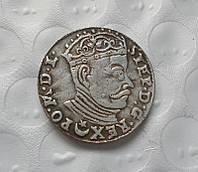 3 гроша 1582 г. Польша-Литва, Стефан 4 Баторий, копия в серебре №528