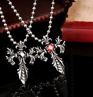 Кулон Крест Двойной дракон черный и красный сталь 316L + цепочка