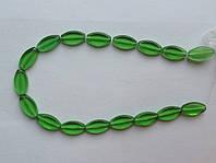 Бусина Овал плоский цвет зеленый 10*19 мм