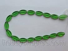 Намистина Овал плоский колір зелений 10*19 мм
