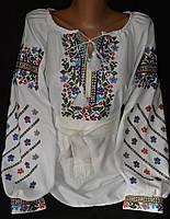 """Женская вышиванка  """"Марийкин цветник"""", дом. полотно, 42-54 р-ры, 630\580 (цена за 1 шт.+ 50 гр.)"""