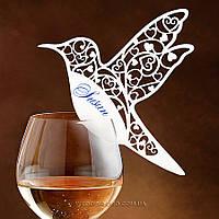 Ажурные рассадочные карточки в виде колибри белые