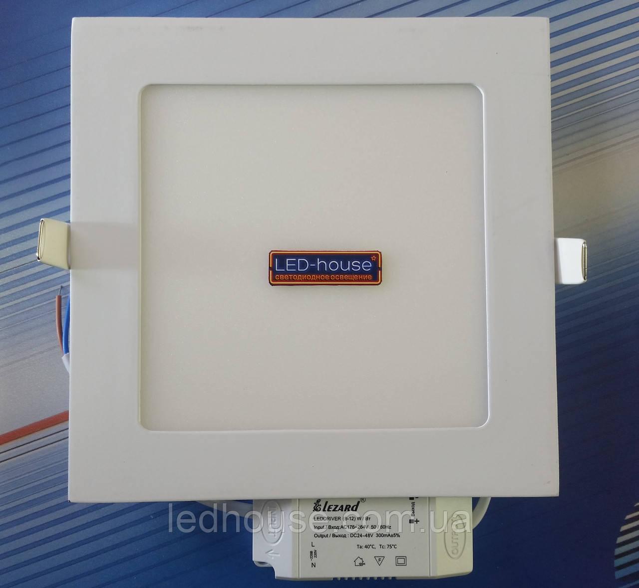 """Светодиодный светильник 12W """"квадрат"""" Lezard 6400K"""