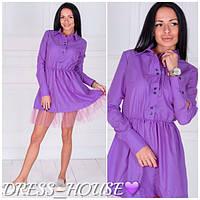Стильное платье с фатином  с-40169