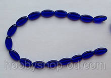 Намистина Овал плоский колір синій кобальт 10*19 мм