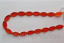 Намистина Овал колір червоний плоский 10*19 мм