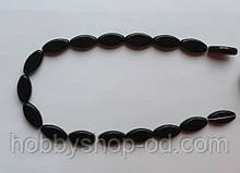 Намистина Овал плоский колір чорний 10*19 мм