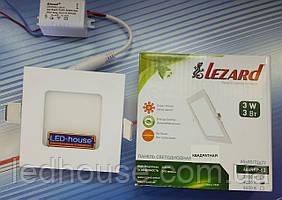 """Светодиодный светильник 3W """"квадрат"""" Lezard 6400K"""