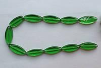 Бусина Овал плоский цвет зеленый 12*30 мм