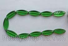Намистина Овал плоский колір зелений 12*30 мм