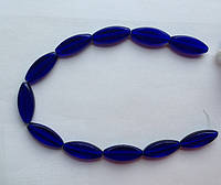Бусина Овал плоский цвет синий кобальт 12*30 мм