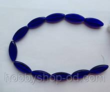 Намистина Овал плоский колір синій кобальт 12*30 мм