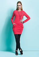 Платье-туника кораллового цвета Daria Zaps с карманами