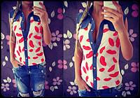 """Красивая блузка """"Губки"""", расцветки"""
