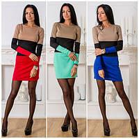 Облегающее трехцветное платье  т-40192