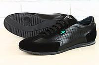 Кожаные мужские кроссовки с вставками замши Lacoste, черная