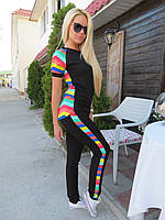 Костюм спортивный штаны и футболка Цветная полоска - Черный