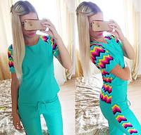 Костюм спортивный штаны и футболка Цветная полоска - Бирюзовый