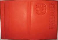 Кожаная обложка на паспорт цвет красный