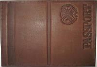 Кожаная обложка на паспорт коричневый