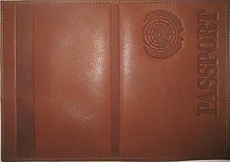 Кожаная обложка на паспорт цвет тёмно-коричневый