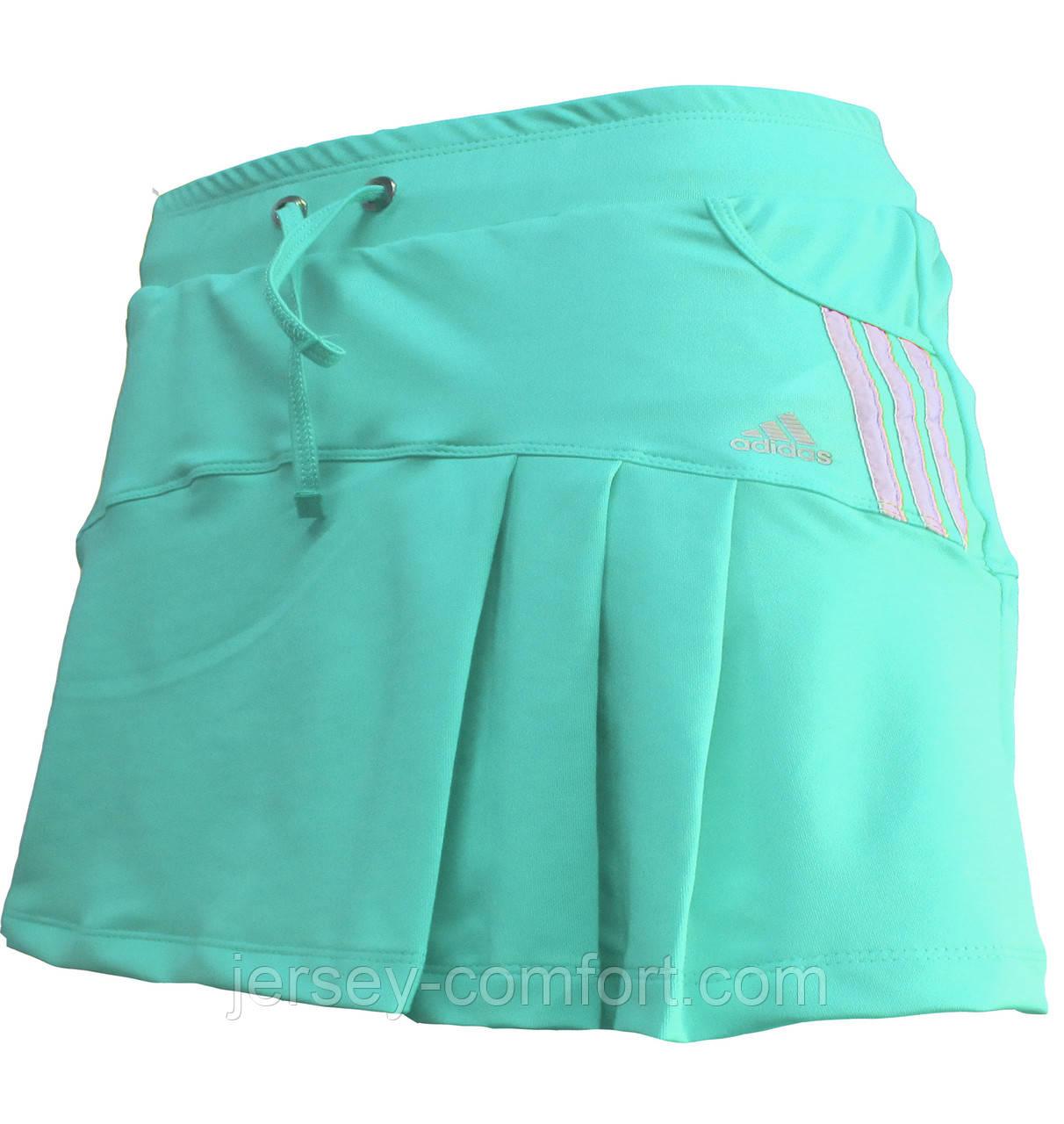 Юбка -шорты женская эластан. Юбка с шортами для тенниса. Юбка спортивная мята, мятный цвет.Мод. 4032