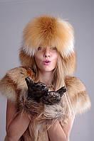 Малахай из лисы, верх кожаный, хвост съемный, фото 1