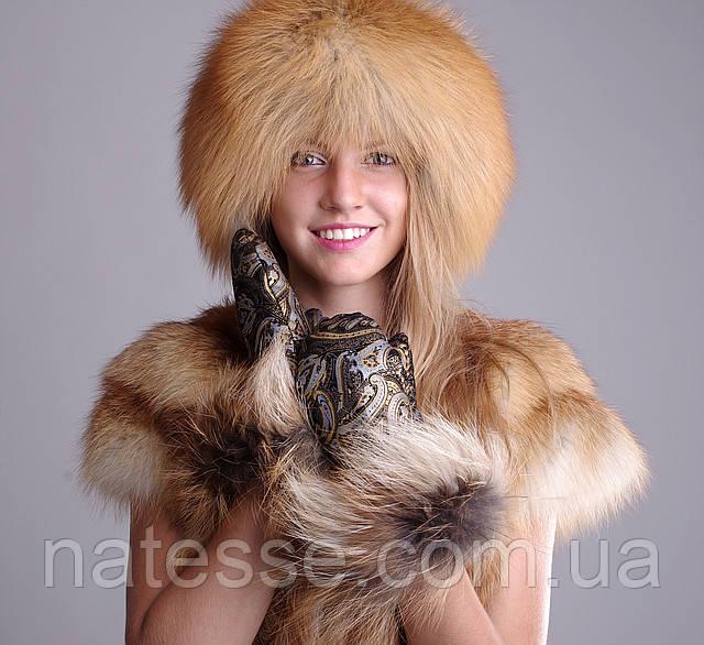 Кубанка из лисы, верх кожаный