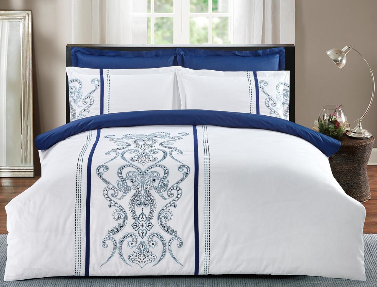 Комплект постельного белья Евро HomeLine Сатин с вишивкой  200х220 ВІЗАНТІЯ  в коробке