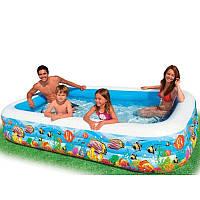 Бассейн надувной семейный Intex 58485, прямоугольной формы, 305*183*56 см, клапан для слива воды