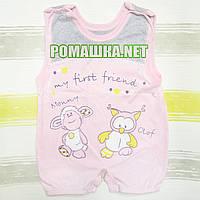 Детский песочник-майка р. 74 ткань КУЛИР-ПИНЬЕ 100% тонкий хлопок ТМ Финтекс 3098 Розовый