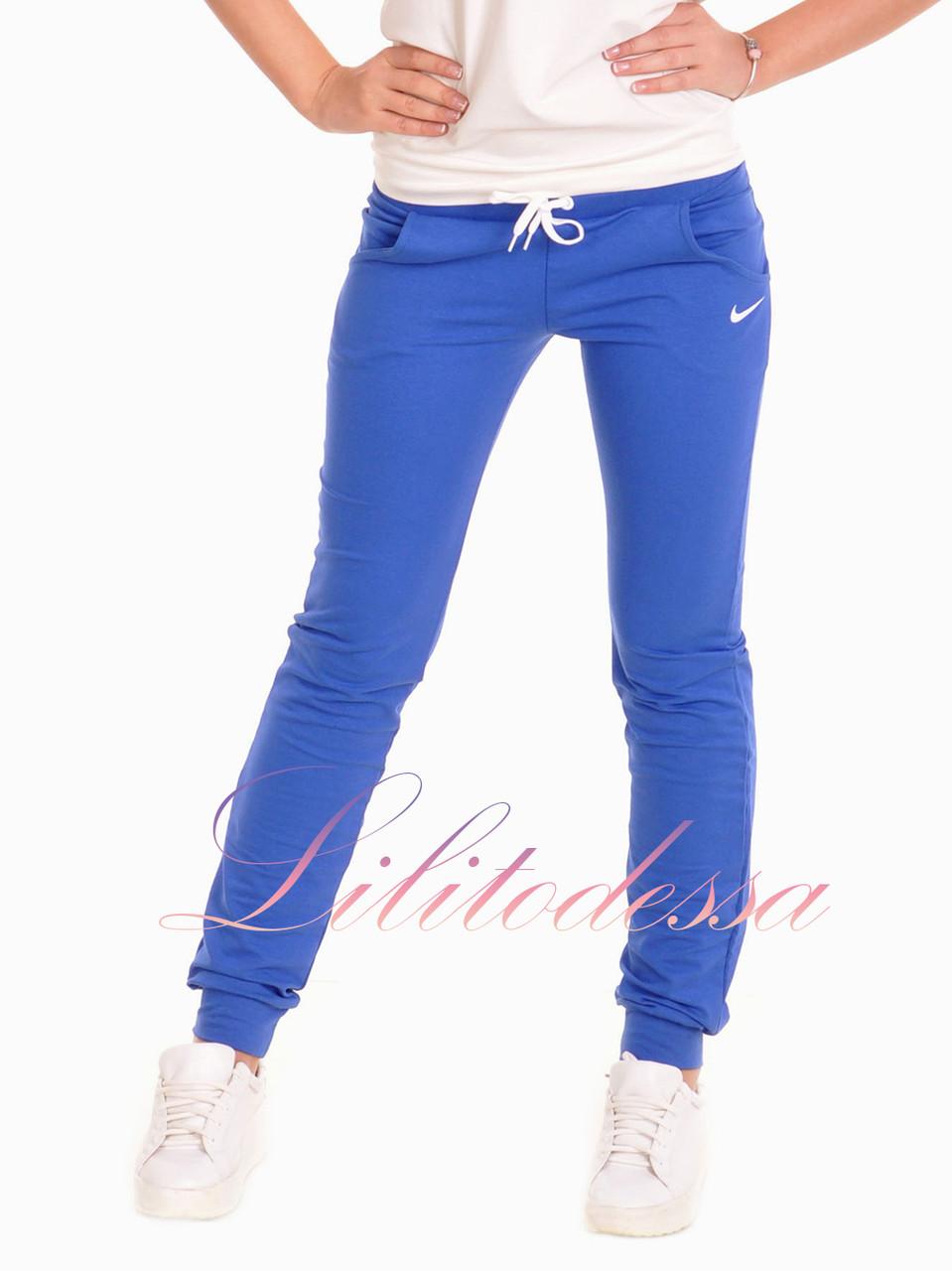 Спортивные Брюки женские с манжетами синие