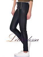 Кожаные брюки женские черные