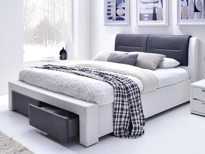 Кровать CASSANDRA S 160x200 бело-черный Halmar