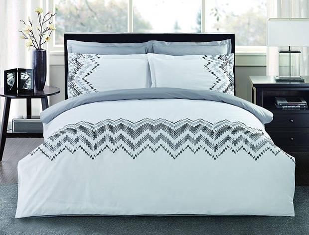 Комплект постельного белья Евро HomeLine Сатин с вишивкой 200х220 МЕЛОДІЯ в коробке, фото 2