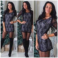 Женское черное платье гипюровое  т-40222