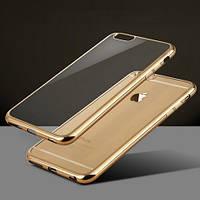 """Чехол силиконовый Fashion Case Gold Frame для iPhone 6/6s Plus (5.5"""") Прозрачный"""