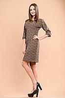 Жаккардовое платье коричневого  цвета с рукавом в три четверти