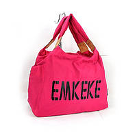 Сумка дорожная, спортивная, пляжная текстильная женская фуксия Emkeke 915, фото 1