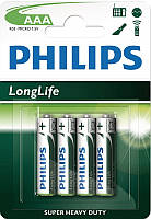 Батарейка Philips LongLife R03 ААА (4шт, блистер, 4/48)