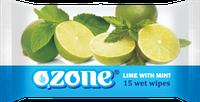 Влажные салфетки Ozone N Мята и лайм, 15 шт