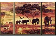 """Набор алмазной вышивки (мозаики) """"Триптих. Африканские слоны"""""""