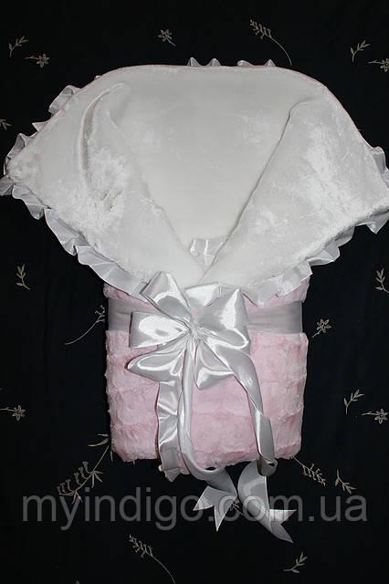 Конверт детский зимний на выписку розовый