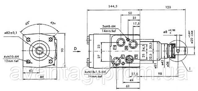 Размеры насоса дозатора (гидроруля) ХУ-145-0/1 (-10/1 с клапаном).